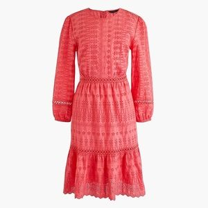 New JCREW Bright Coral Eyelet flutter-hem dress